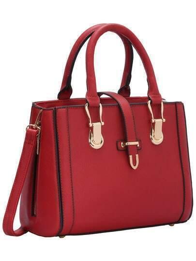 Red Buckle Zipper PU Shoulder Bag
