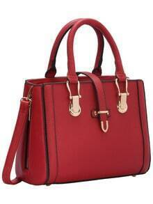 Red Buckle Zipper PU Shoulder Bag