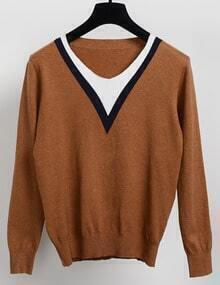 Camel V Neck Long Sleeve Slim Knitwear
