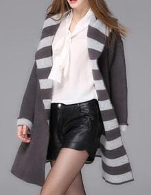 Grey Hooded Striped Pockets Loose Sweater Coat