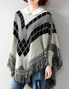 Grey Round Neck Geometric Print Tassel Cape