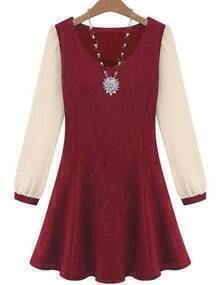 Red V Neck Contrast Long Sleeve Slim Dress