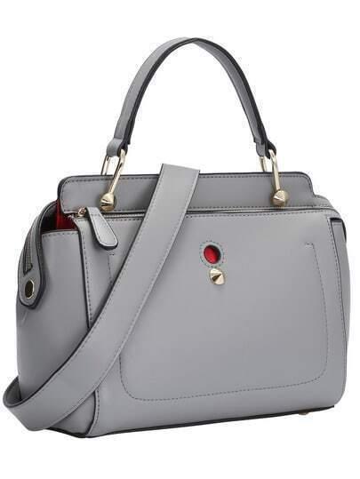 Grey Zipper Rivets PU Shoulder Bag