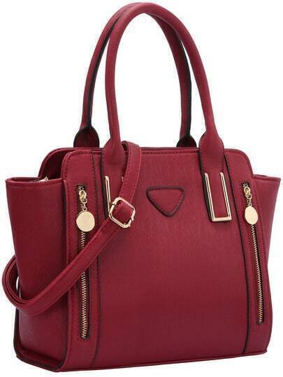 Bright Red Zipper PU Shoulder Bag