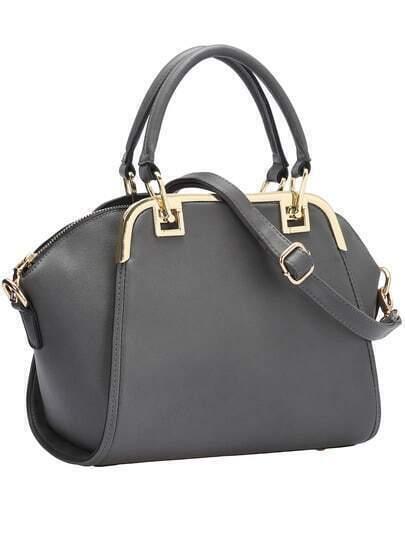 Grey Zipper PU Shoulder Bag