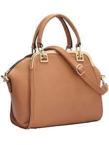 Apricot Zipper PU Shoulder Bag