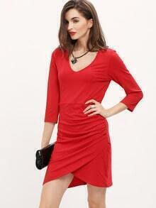 Red V Neck Ruched Bodycon Dress