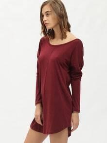 Burgundy Round Neck V Back Dress