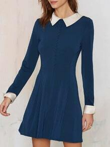 Blue Long Sleeve Contrast White Collar Dress