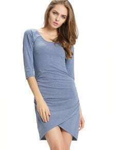 Blue Round Neck Ruched Bodycon Dress