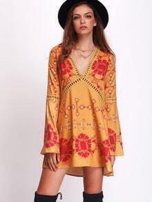 Multicolor V Neck Vintage Print Hollow Dress