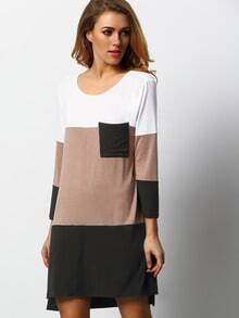 Black White Color Block Pockets Dress