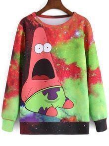 Color Cartoon Galaxy Print Sweatshirt