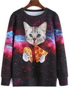 Color Cat Galaxy Print Sweatshirt
