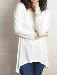 White Round Neck Sequined Asymmetrical T-Shirt