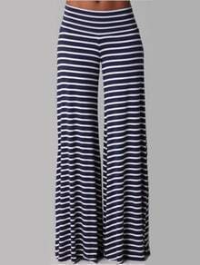 Black White Striped Wide Leg Pant