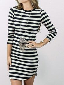 Black White Elbow Patch Striped Dress