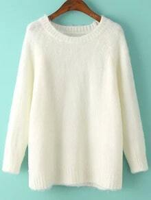 White Round Neck Loose Mohair Sweater