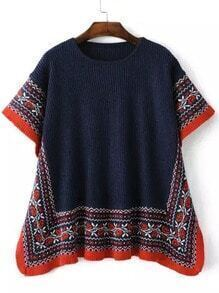 Navy Red Round Neck Tribal Print Sweater