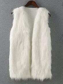 White Sleeveless Faux Fur Vest