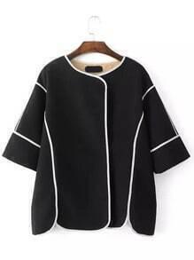 Black Round Neck Contrast Trims Coat