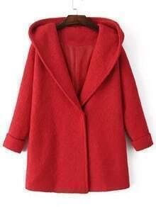 Red Hooded Long Sleeve Single Button Woolen Coat