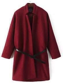 Burgundy Stand Collar Loose Woolen Coat
