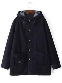 Black Hooded Pockets Loose Denim Coat
