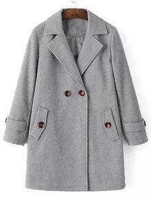 Grey Notch Lapel Double Breasted Woolen Coat