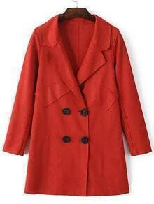 Red Lapel Double Breasted Loose Coat