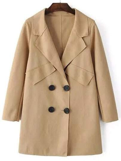 Apricot Lapel Double Breasted Loose Coat