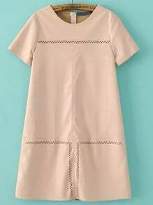 Apricot Round Neck Hollow Loose PU Dress