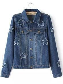 Blue Lapel Bleached Stars Pattern Denim Jacket