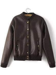 Brown Stand Collar Buttons Crop Jacket