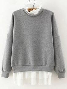 Grey Frill Neck Long Sleeve Zipper Sweatshirt