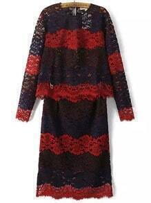 Colour-block Round Neck Floral Crochet Lace Top With Skirt