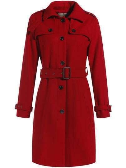 Red Lapel Long Sleeve Drawstring Pockets Coat