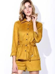Yellow Lapel Length Sleeve Tie-Waist Two-piece Outfits