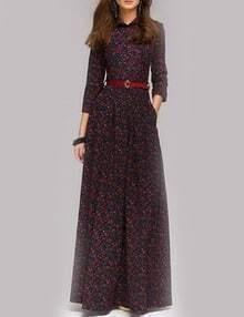 Colour Lapel Floral Slim Buttons Dress