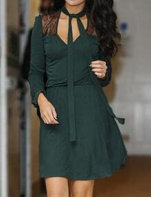 Green Long Sleeve Sheer Mesh Dress