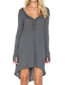 Grey V Neck Long Sleeve Buttons High Low Dress