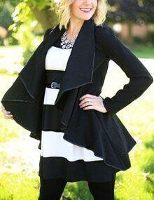 Black Long Sleeve Contrast Trims Asymmetrical Coat