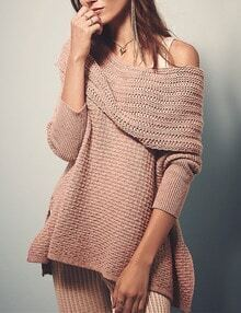 Pink Off the Shoulder Loose Asymmetrical Sweater