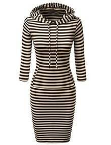Black White Hooded Striped Sweatshirt Dress