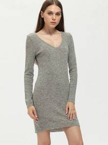 Grey Long Sleeve V Back Sheath Dress