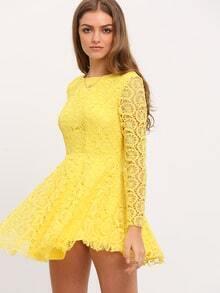 Yellow Long Sleeve Crochet Lace Dress