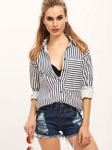 Black White Long Sleeve Striped Lapel Blouse