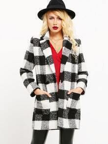 Black White Long Sleeve Lapel Plaid Coat