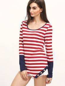 Burgundy White Long Sleeve Striped T-Shirt
