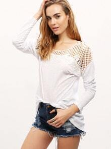White Long Sleeve Split Back Hollow T-Shirt